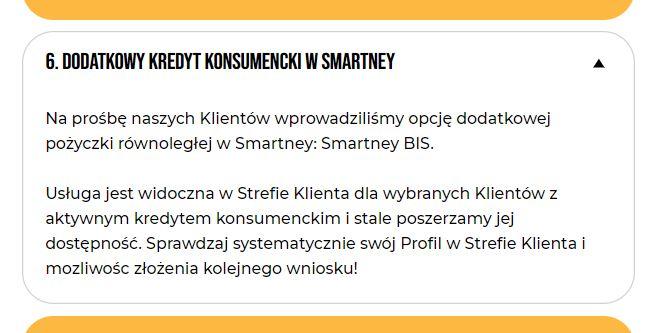 Smartney BIS dodatkowa pożyczka od Smartney (więcej niż jedna na raz)